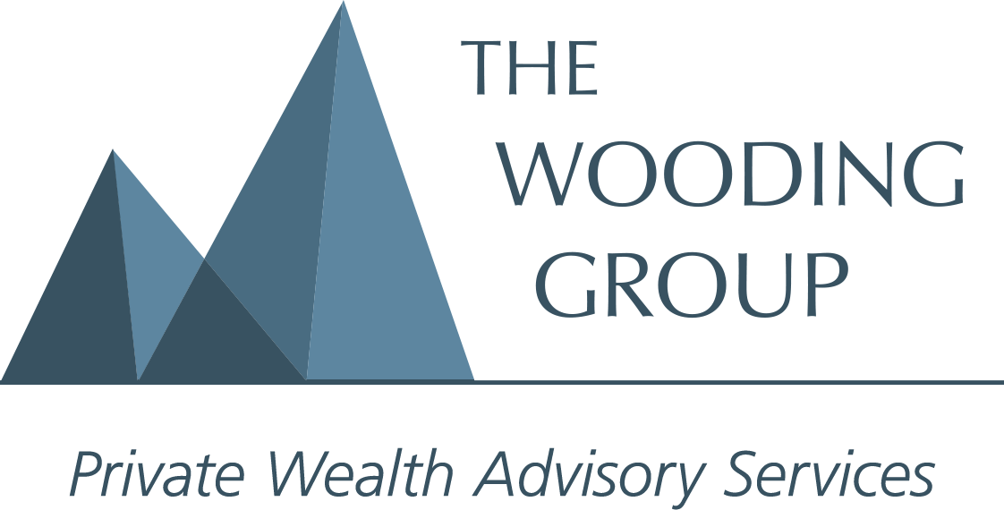 Blue text of The Wooding Group with Private wealth advisory services below and two blue peaks of different sizes to the left